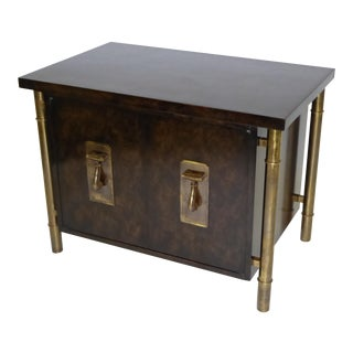 Fine Mastercraft Burl and Brass Nightstand by William Doezema