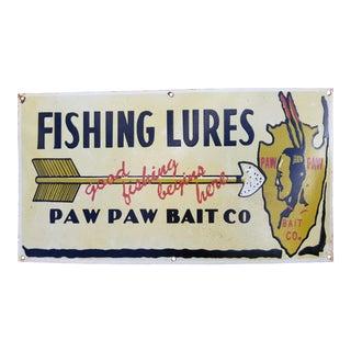 Enamel Native American Fishing Sign