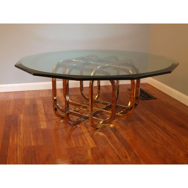 Vintage Chrome & Brass Glass Top Coffee Table - Image 3 of 8