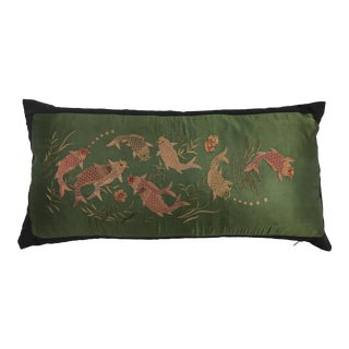Jade Green Silk Embroidered Koi Fish Pillow