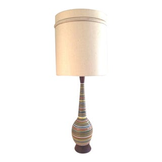 Mid-Century Multicolored Striped Lamp