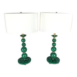 Pair Of Malachite Lamps
