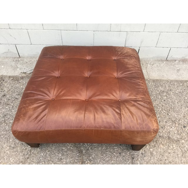 Pottery Barn Sullivan Leather Ottoman | Chairish