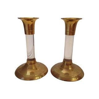 Brass & Lucite Candleholders - A Pair