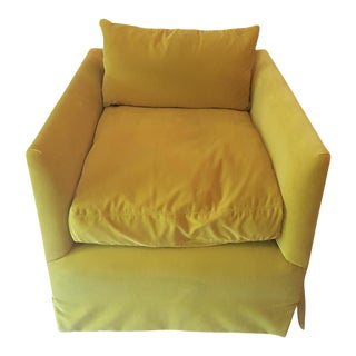 Closed Back Yellow Velvet Club Chair
