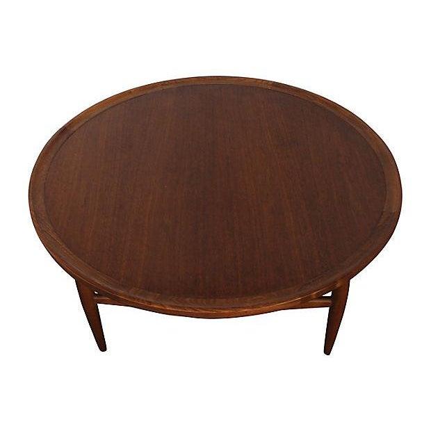 Henry Mid Century Modern Weathered Walnut Round Coffee: Danish Modern Walnut Round Coffee Table By Finn Juhl