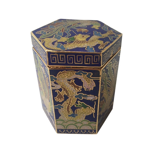 Vintage Cloisonné Hexagon Box - Image 1 of 5