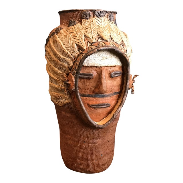 Indian Head Ceramic Vase - Image 1 of 9