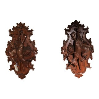 19th Century Swiss Carved Walnut Black Forest Wall Hunting Trophies - A Pair
