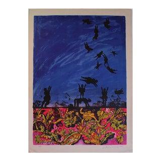 Mid Century Modern colorful Lithograph titled La Liverte