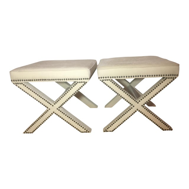 Linen Nailhead X-Bench Ottoman - a Pair - Image 1 of 8