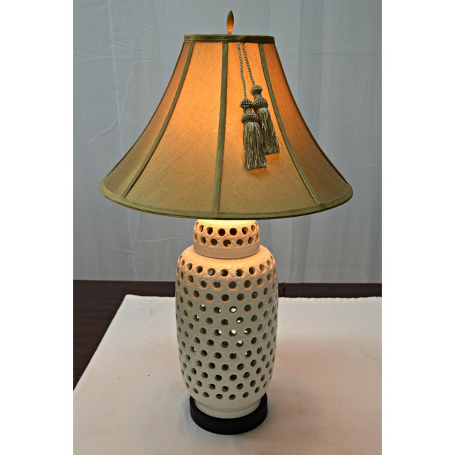 Mid-Century White Perforated Porcelain Table Lamp - Image 4 of 9
