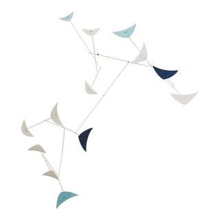 Calder-Style White & Aqua Blue Enamel