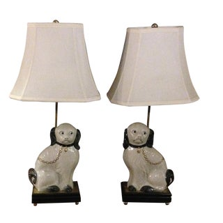 Vintage Staffordshire King Charles Lamps - Pair