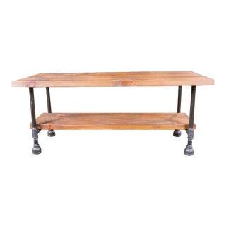 Custom Vintage Industrial Rustic Wood Steel and Cast Iron Side - Coffee Table