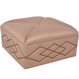 Hollywood Regency Tufted Wool Satine Ottoman