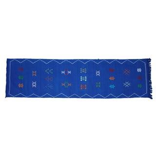 Moroccan Blue Cactus Silk Runner - 9'4'' X 2'4''