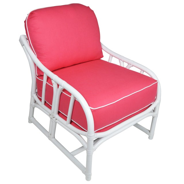Ficks Reed Lilly White & Pink Chairs - a Pair - Image 3 of 7