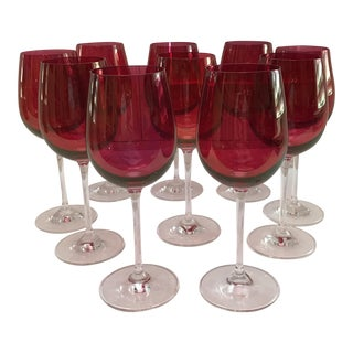 Vintage Red Rose Crystal Wine Goblets - Set of 10