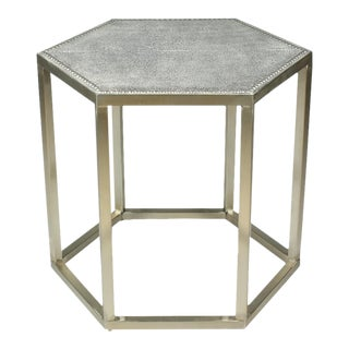 Sarried Ltd Mallen Leather Light Gray Stool