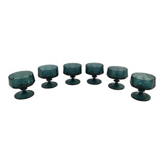 Mid-Century Modern Teal Sherbets - Set of 6
