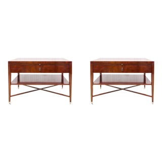 Bolier & Co. Swirl Mahogany Side Tables - Pair