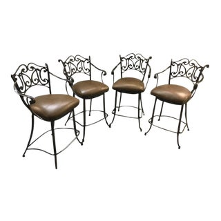 Ethan Allen Metal & Leather Bistro Barstools - Set of 4