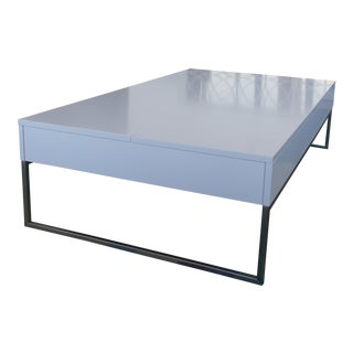 Bo Concept Occa Coffee Table in White Lacquer and Brushed Chrome
