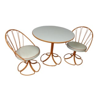 Mid-Century Orange & White Wrought Iron Bistro Set - S/3