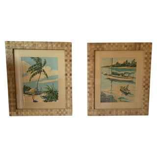 Signed Tropical Prints in Woven Frames - A Pair