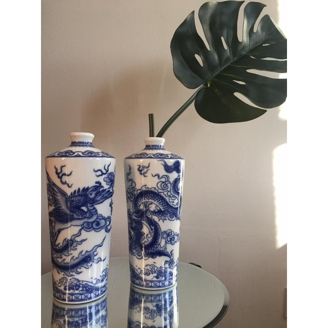 Blue and White Dragon Vases - Pair - Image 3 of 10