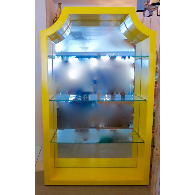 Mirrored Etagere Cabinet Glass Shelves Yellow - Image 2 of 7