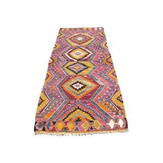 Vintage Turkish Kilim Rug - 3′3″ × 9′4″