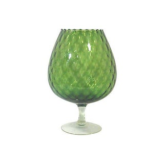 Mid-Century Large Italian Olive Green Snifter Bowl