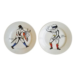 Piero Fornasetti Ceramics Plates with Commedia dell'arte Figures called Italian Masks ( Mashhchere italiane).
