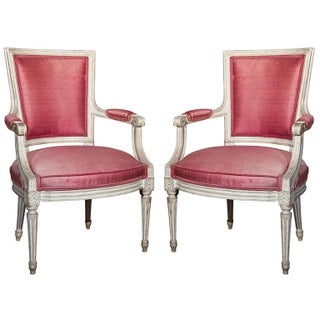 French Painted Armchairs by Jansen - A Pair