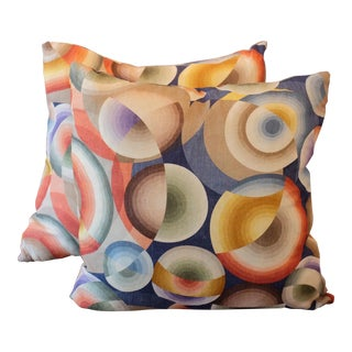 Pierre Frey Sonia Delaunay Print Linen Pillows - A Pair