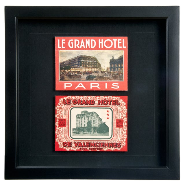 Image of Framed French Grand Hotel Luggage Labels