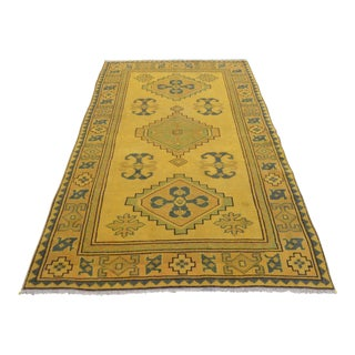 """Turkish Overdyed Yellow Hand Knotted Rug- 4' x 6'8"""""""