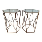 Image of Brass & Glass Side Tables - A Pair