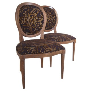 Round-Back Upholstered Chairs - A Pair