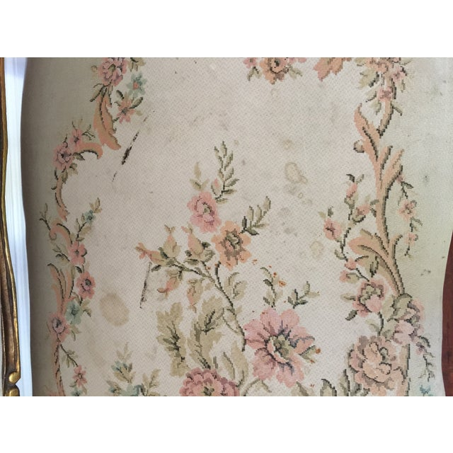 Antique Louis XV Style Tapestry Carved Sette - Image 4 of 11