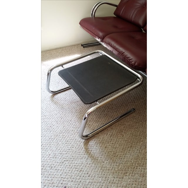 Vintage Chrome 3-Seat Sofa With Foot Stool - Image 6 of 9