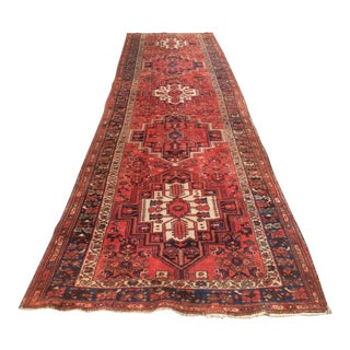 Antique Red & Blue Persian Rug - 3′6″ × 13′3″