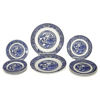 Blue Willow Plates - Set of 12