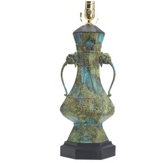 Asian Cast Metal Table Lamp