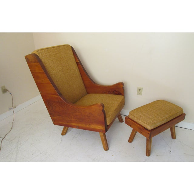 Rustic Modern Ochre Lounge Chair & Ottoman - Image 2 of 7