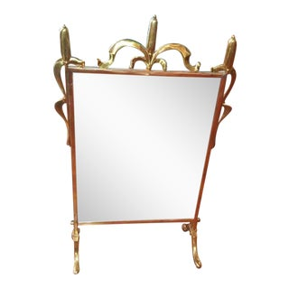 Vintage Brass Cat Tail Floor Vanity Fireplace Mirror