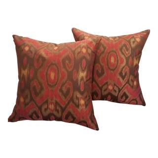 """Garnet Red & Bronze 24"""" Ikat Down Pillows - a Pair"""