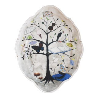 Ceramic Platter With Hand Painted Tree